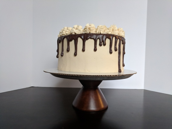 Chocolate cake with Bailey's frosting and a dark chocolate ganache drip.
