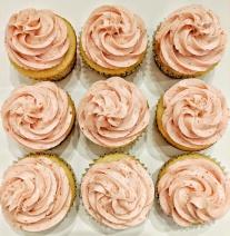 Vanilla cupcakes with strawberry buttercream